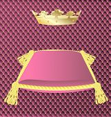 pink cushion with a crown