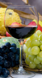 pic of wine grapes  - An inviting glass of red wine with grapes - JPG