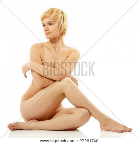 Of Woman Sey Nude Beautiful Young Posing Isolated On White Background