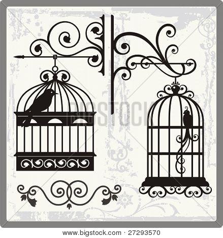 Постер, плакат: Винтажные птиц клетки с декоративные украшения , холст на подрамнике