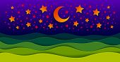Scenic Nature Landscape Of Green Grass Meadow In The Night Under Shiny Moon And Stars In Midnight Sk poster