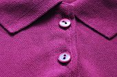 Violet Polo Shirt Close Up With Buttoned Collar Neck Of Dark Purple Color. Casual Clothes, Vivid Cot poster