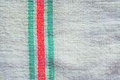 Close Up Detail Of Towel. Red And Green Stripes On Woven Towel poster