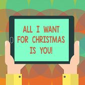 Word Writing Text All I Want For Christmas Is You. Business Concept For Holiday Celebrate In Couple  poster