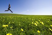 Unternehmer, die auf dem Feld springen