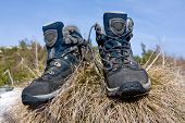 pic of welts  - Pair tourists boots on grass - JPG