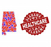 Healthcare Combination Of Bright Medical Mosaic Map Of Alabama State And Scratched Seal. Vector Red  poster
