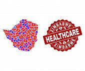 Healthcare Combination Of Bright Medical Mosaic Map Of Zimbabwe And Scratched Seal Stamp. Vector Red poster
