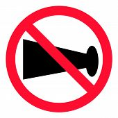No Blowing Of Horn Icon On White Background. Flat Style. No Horn Sign For Your Web Site Design, Logo poster
