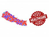 Healthcare Composition Of Bright Medical Mosaic Map Of Nepal And Scratched Seal. Vector Red Seal Wit poster