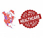 Healthcare Composition Of Bright Medical Mosaic Map Of North America And Scratched Seal Stamp. Vecto poster