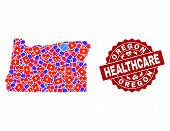 Healthcare Combination Of Bright Medical Mosaic Map Of Oregon State And Scratched Seal Stamp. Vector poster