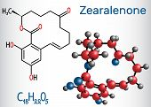 Zearalenone (zen) Mycotoxin Molecule. Structural Chemical Formula And Molecule Model. Vector Illustr poster