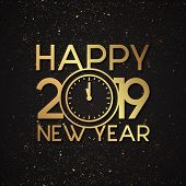 Luxury Letter Happy New Year 2019 With Gold Grunge Vector Effect. Elegance Letter Vector Happy New Y poster