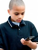 African American Boy Text Messaging