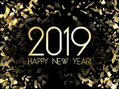 Glossy 2019 Happy New Year Card With Gold Confetti. 2019 Holiday Card, Banner Or Party Poster Design poster