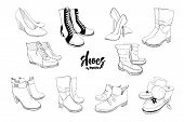 Illustration Of Set Hand Drawn Graphic Men And Women Footwear, Shoes. Casual And Sport Style, Gumsho poster