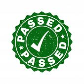 Vector Passed Grunge Stamp Seal With Tick Inside. Green Passed Imprint With Draft Style. Round Rubbe poster