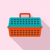 Cat Travel Basket Icon. Flat Illustration Of Cat Travel Basket Vector Icon For Web Design poster