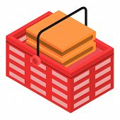 Shop Red Basket Icon. Isometric Of Shop Red Basket Vector Icon For Web Design Isolated On White Back poster