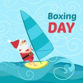 Boxing Day Santa Wind Surf Concept Background. Flat Illustration Of Boxing Day Santa Wind Surf Vecto poster