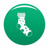 Textile Sock Icon. Simple Illustration Of Textile Sock Vector Icon For Any Design Green poster