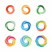 Circle Company Logo Signs Set. Collection Of Colorful Emblems Vector Illustration. Abstract Round Sy poster