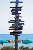 Signpost At Key West Pointing To Places Around The World
