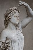 Statue Of Sensual Roman Renaissance Era Woman In Circlet Of Bay Leaves, Potsdam, Germany, Details, C poster