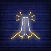 Praying Hands Neon Sign. Gratitude Or Prayer Design. Night Bright Neon Sign, Colorful Billboard, Lig poster