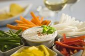 foto of crudites  - Assorted vegetable sticks and dip - JPG