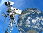 Tv Professional Studio Digital Video Camera Over Blue Sky And Earth
