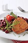 image of pork chop  - Marinated pan fried pork with red beans - JPG
