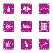 Peaceful Solution Icons Set. Grunge Set Of 9 Peaceful Solution Icons For Web Isolated On White Backg poster