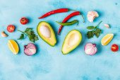 Ingredients For Guacamole: Avocado, Lime, Tomato, Onion And Spices. poster