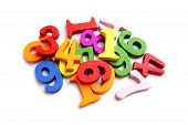 Math Number Colorful On White Background : Education Study Mathematics Learning Teach Concept. poster