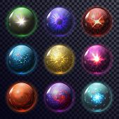 Set Of Isolated Magic Balls Or Spheres For Foretelling, Orb For Future Prediction, Fortune Teller My poster