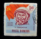 Romania - CIRCA 1963: A stamp printed in Romania shows Valentina Tereshkova, the world's first female astronaut