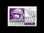 USSR - CIRCA 1965: A stamp printed in USSR shows The first person in a free space, the Soviet cosmonaut Alexey Leonov