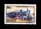 MONGOLIA - CIRCA 1979: A stamp printed in Mongolia shows vintage train Moscow - Ulan Bator, circa 1979