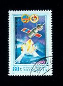 MONGOLIA- CIRCA 1981: A stamp printed in Mongolia shows spacestation Salut, stamp from series honori