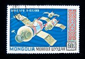 MONGOLIA - CIRCA 1965: A stamp printed in Mongolia shows the Soviet spaceship Soyuz-6, circa 1965