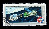 USSR - CIRCA 1975: A stamp printed in USSR shows spaceship