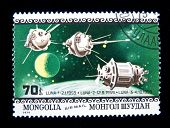 MONGOLIA - CIRCA 1979:  A stamp printed in Mongolia shows spaceship Luna-1, circa 1979 Series