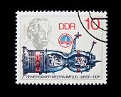 Germany - CIRCA 1979:  A stamp printed in Germany shows spaceship and Albert Einstein, circa 1979 Se