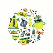 Cooking Flat Hand Drawn Color Illustration. Kitchen Utensil And Appliance. Food Preparation Cliparts poster