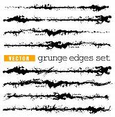 Set Of Splashes Edge. Grunge Strokes Template. Art Brush For Paint Draw. Hand Draw Ink Stains Vector poster