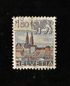 HELVETIA (SWITZERLAND) - CIRCA 1984: A Stamp printed in the HELVETIA shows Signo  Taurus, circa 1984.