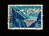 HELVETIA (SWITZERLAND) - CIRCA 1985: A Stamp printed in the HELVETIA shows  mountains, circa 1985.