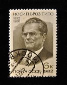 USSR - CIRCA 1982: A Stamp printed in the USSR shows portrait of the Yugoslav President Josip Broz